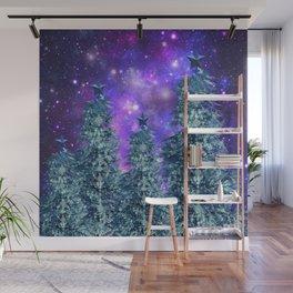 space nebulae trees Wall Mural