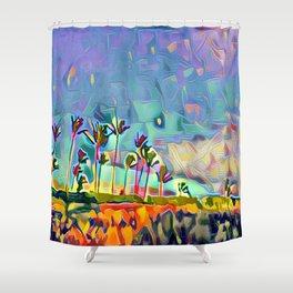 Golden Palm Landscape #3 (Right) Triptych Shower Curtain