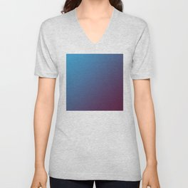 Blue and Dark Pink Magenta Burgundy Gradient Ombré Unisex V-Neck