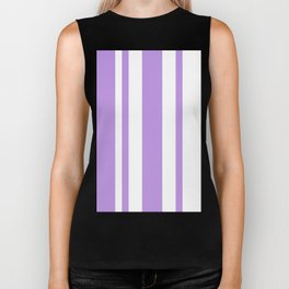 Mixed Vertical Stripes - White and Light Violet Biker Tank