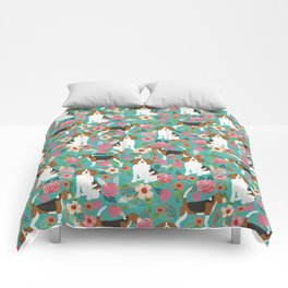 Beagle dog florals dog breed pattern must have cute gifts for pure bred dogs Comforters