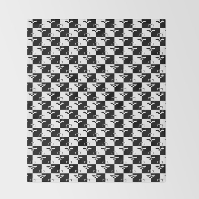 Black and White Checkerboard Scales of Justice Legal Pattern Throw Blanket