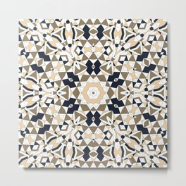 Mandala grey and beige Metal Print