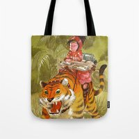 bouletcorp Tote Bags featuring Fluo Tiger by Bouletcorp