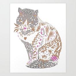 Exotic trendy Mystical cat drawing Art Print