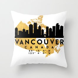 VANCOUVER CANADA SILHOUETTE SKYLINE MAP ART Throw Pillow