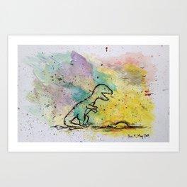 Dinosaur - 4, May 2014 - Tonight's Watercolor Art Print