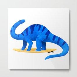 Awsome Apatosaurus Surfing Metal Print