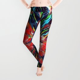 Red Tulip Haiku Leggings