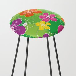 Hawaiian inspired tropical florals Counter Stool