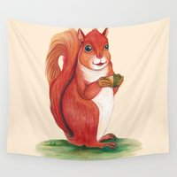 squirrel Wall Tapestries featuring Squirrel by Yana Elkassova