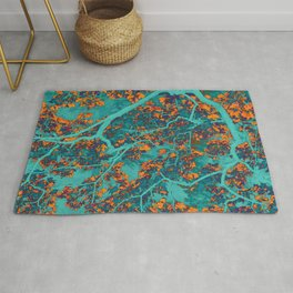 Colourful green and orange trees Rug