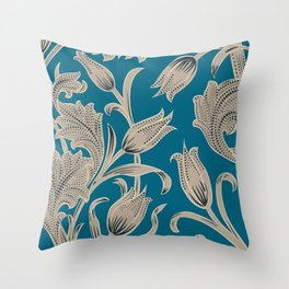 Silver turquoise Tulip Art Pattern Throw Pillow