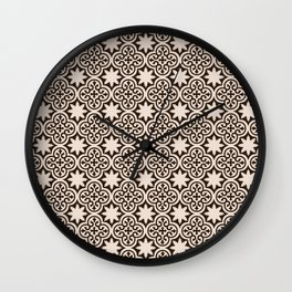-A28- Brown Traditional Moroccan Pattern Artwork. Wall Clock