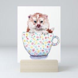 Baby Pomsky in Teacup Mini Art Print