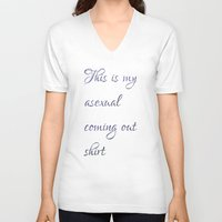 asexual V-neck T-shirts featuring This is my asexual coming out shirt by Adam M. Snowflake