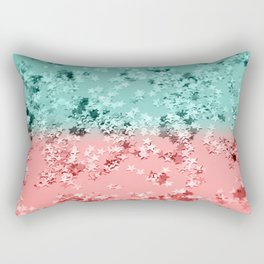 Summer Vibes Glitter Stars #1 #coral #mint #shiny #decor #art #society6 Rectangular Pillow