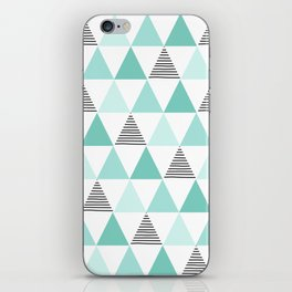 Black Stripes and Mint Triangles iPhone Skin