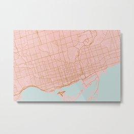 Pink and gold Toronto map, Canada Metal Print