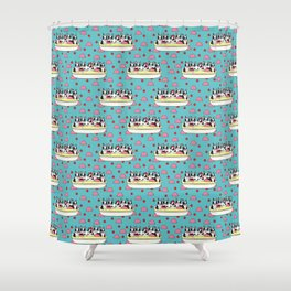 Banana Split Boston Pups with Cherries and Ice Cream Scoops Shower Curtain
