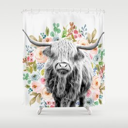Cutest Highland Cow With Flowers Shower Curtain
