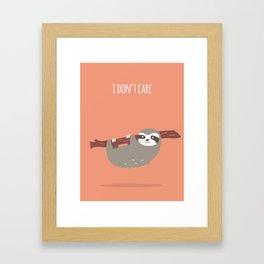 Sloth card - I don't care Framed Art Print
