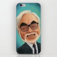 hayao miyazaki iPhone & iPod Skins featuring Hayao Miyasaki by CarolaRT