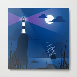 Ghost Ship and Lighthouse Metal Print