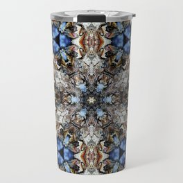 River Birch bark with blue sky kaleidoscope Travel Mug