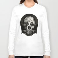 trippy Long Sleeve T-shirts featuring Room Skull B&W by Ali GULEC