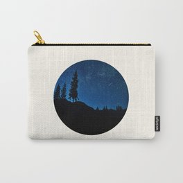 Mid Century Modern Round Circle Photo Blue Star Night Sky Pine Tree Silhouette Carry-All Pouch