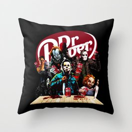 Funny Halloween Horror Characters Drinking Dr Pepper Throw Pillow