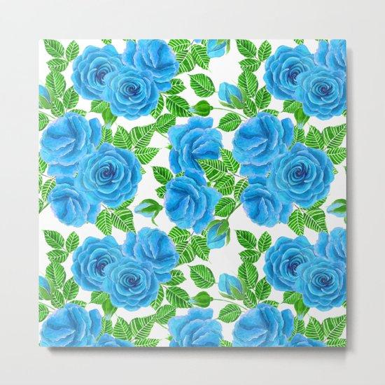 Blue roses watercolor seamless pattern Metal Print