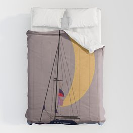Boat in the middle of the night Comforters