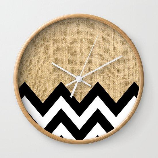 BURLAP BLOCK CHEVRON Wall Clock