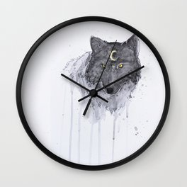 the wolf and the moon Wall Clock