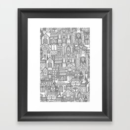 gingerbread town black white Framed Art Print