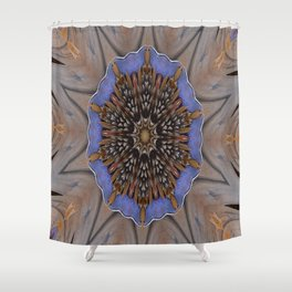 Blue Brown Kaleidoscope Retro Groovy Image Shower Curtain