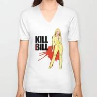kill bill V-neck T-shirts featuring Kill Vampire Bill by AriesNamarie