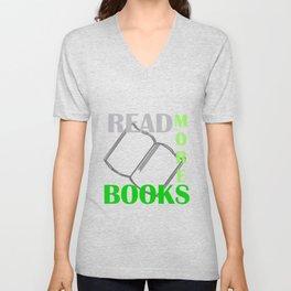 READ MORE BOOKS in green Unisex V-Neck