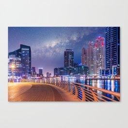 Dubai Nights with Milky Way Canvas Print