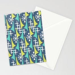 Mid Century Modern Atomic Wing Composition 55 Blue Turquoise and Chartreuse Stationery Cards