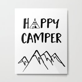 Happy Camper quote + Mountain for Kids Room Metal Print