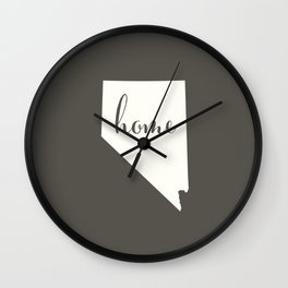 Nevada is Home - White on Charcoal Wall Clock