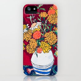 Marigold, Daisy and Wildflower Bouquet Fall Floral Still Life Painting on Eggplant Purple iPhone Case
