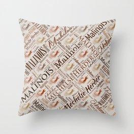 Belgian Malinois Dog Word Art pattern Throw Pillow
