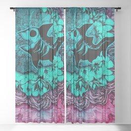 Unicorn Shark Blue Sheer Curtain