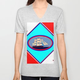 A Nautical Oval Ship and Anchors, red, white and blue Unisex V-Neck