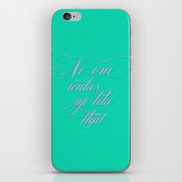 No One Wakes Up Like That - Victorian Swash bubble gum pink and acid green iPhone Skin