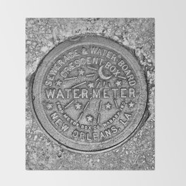 New Orleans Water Meter Louisiana Crescent City NOLA Water Board Metalwork Grey Silver Throw Blanket